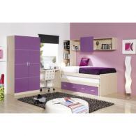 Детска стая в лилаво и дървесен цвят