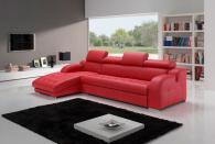 Червен диван с лежанка по поръчка