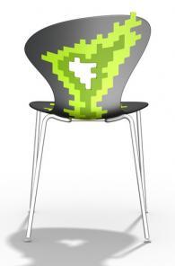Дизайнерски стол сиво със зелено