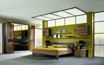 Спалня по поръчка с шкафове, окачени на стената и голям гардероб с огледало 14-2618