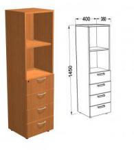 Офис шкаф с четири шкафчета и 2 рафта цвят Елша